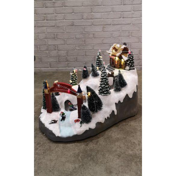 Zenélő, világító karácsonyi nagy sípálya