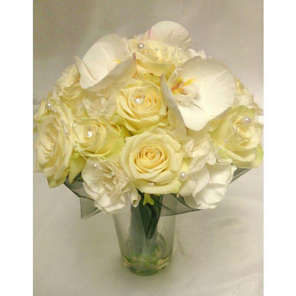 Rózsa orchideával menyasszonyi csokor