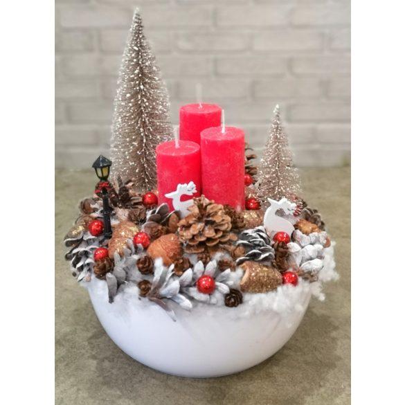 Piros karácsonyi asztaldísz