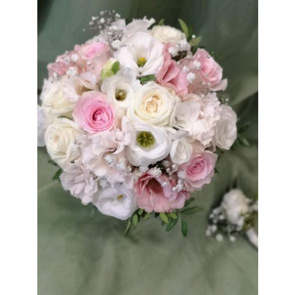Rózsaszín-fehér menyasszonyi csokor