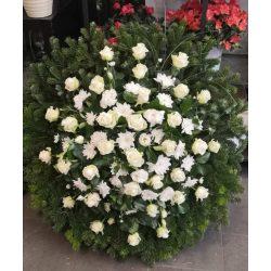 Álló koszorú rózsával