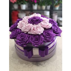 Luxus lila örökrózsa doboz
