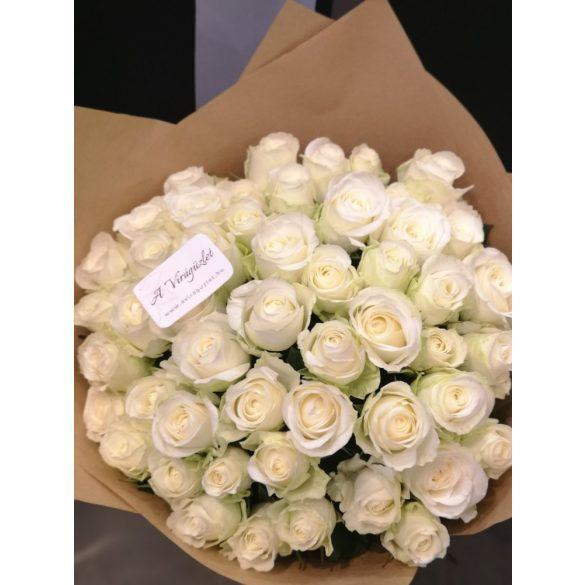 Fehér rózsacsokor 50 szálas