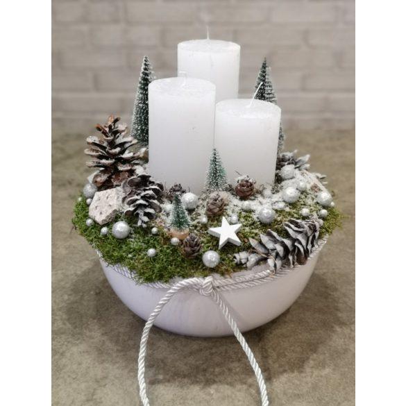 Fehér karácsonyi asztaldísz
