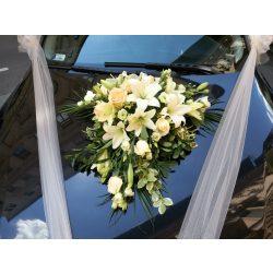 Esküvői autódísz krém színben